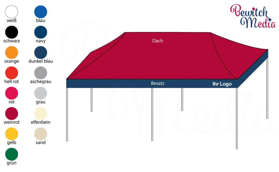 Produkt Faltzelt 8x4 Meter Zweifarbig Schematisch