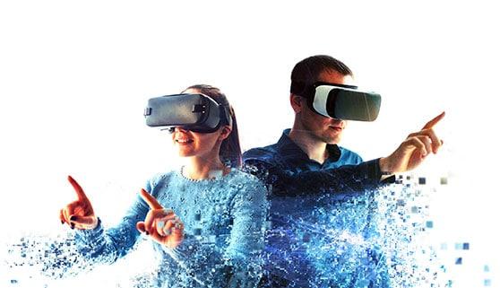 Interaktive Medien Contentbild - Frau und Mann mit VR Brille