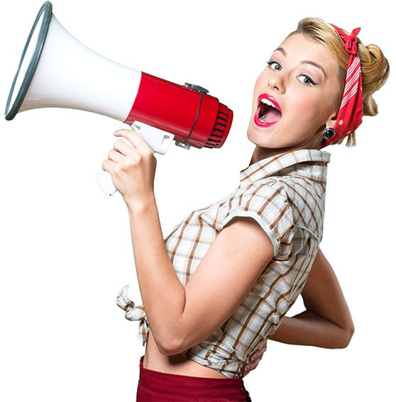 Guerilla-Marketing Content Bild - Frau mit Magaphone