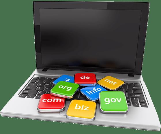 Web Flat L Content Bild Laptop mit Domain Schildern