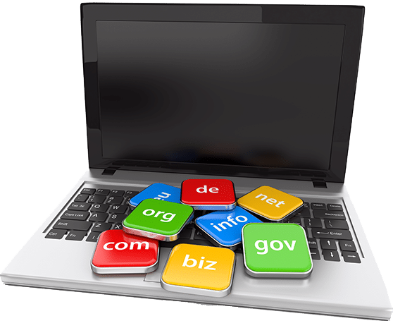 Web Flat S Content Bild Laptop mit Domain Schildern