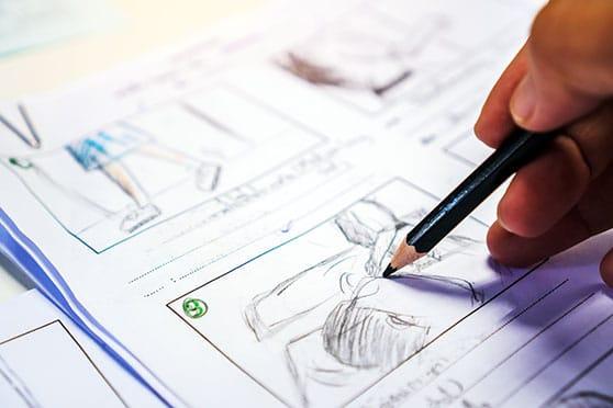Filmproduktion Content Bild - zeichnen eines Storyboards