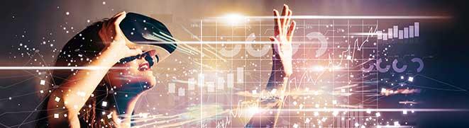 Medien und Werbeagentur Banner Bild Digital Marketing - Frau mit VR Brille