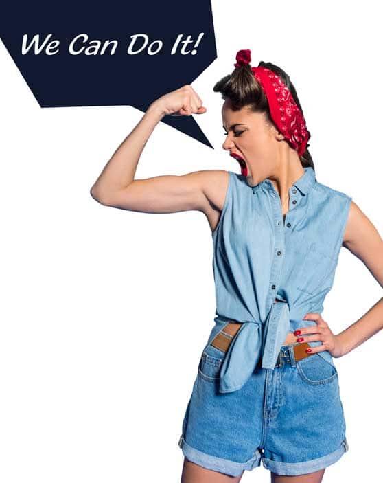 Medien und Werbeagentur Content Bild - We can do it - Frau läßt Muskeln spielen