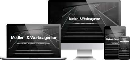 Medien und Werbeagentur Content Bild - Website auf unterschiedlichen Endgeräten