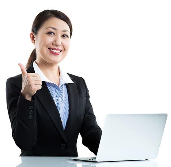 Sales Representative – New Business Sales Content Bild - Frau mit Laptop