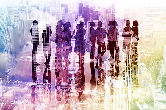 Text Content Content Bild - Konturen junger Leute in der Stadt