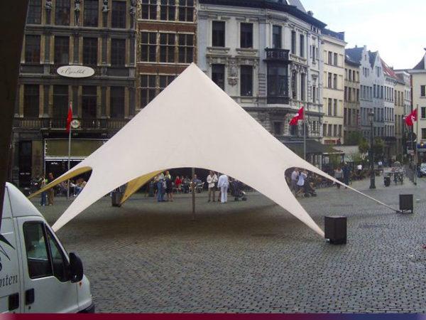 Startent® 80 Set sandfarben Foto Zelt aufgebaut auf Marktplatz