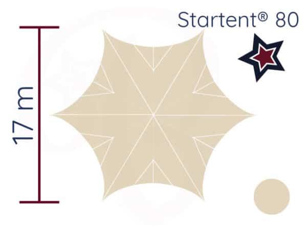 Startent® 80 Set sandfarben Zeichnung Durchmesser Ansicht von Oben